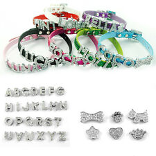 Glitter Personalised Pet Dog Cat Collar Rhinestone Name Bling Charms PU Leather
