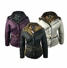 Womens Ladies Jess Country Wear Belted Faux Suede Quilted Jacket Outdoor Coat