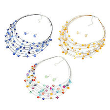Beaded Multi Strand Necklace and Drop/Dangle Earring Set-Multicolor T1