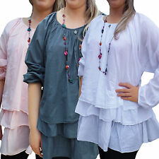 Women's UK PLUS Size 8-30 Ladies Lagenlook Layered Top White Grey Pink, black