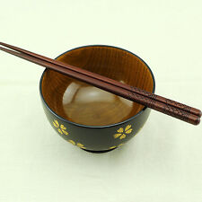 Kitchen Table Set 5 Pairs Hand-made Wood Chopsticks Dining Bowls Soup Rice