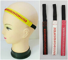 Women Men Baseball Softball Sports Headband Yellow Leather Red Lace Seam Colors