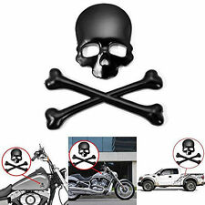 Skull Bone Devil 3D Black Motorcycle Car Emblem Badge Logo Decal Metal Sticker