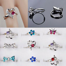 Mixed Wholesale 10 PCS MultiColor Crystal Girls Kids Jewelry Adjustable Rings