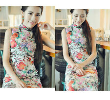Traditional Floral Chinese Dress Linen Cheongsam Sleeveless Qipao CongLinHuaXian