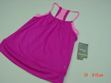 NWT Girls Danskin Now Double Layered Tank 2 tone Pink Dri More Mesh Athletic