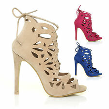LACE UP PEEP TOE CAGED LASER CUT OUT STILETTO LADIES HIGH HEEL SANDAL SHOES SIZE