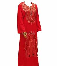 Egyptian Cotton Red Embroidered Galabeya Abaya Muslim Prayer Jilbab Kaftan