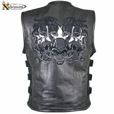 Xelement Mens Evil Cruiser Leather Motorcycle Vest For Harley Davidson (S-5XL)