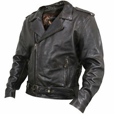 Xelement Mens Brown Classic Biker Armored Distressed Leather Motorcycle Jacket