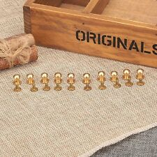 10x Brass Round Button Head 5-10mm Screws Nail Rivets Leather Belt Craft DIY Kit