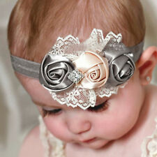 Hottest Lovely Girls Elastic Headbands Rose Flower Crystal Baby Hair Accessories