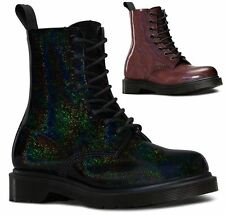 Dr Martens Ladies Pascal Petrol Shimmer Glitter Leather Ankle 8 Eye Boots