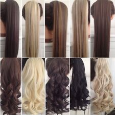 US seller blonde Clip In as real Hair Extension Pony Tail Wrap Around Ponytail