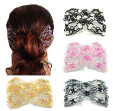 Elastic Double Combs Handmade Beaded Flower Hair Clips Hair Holder Ez Hair Comb