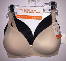 Two WARNERS 4003 Wire Free Light Natural Lift Bras Black / Nude NWT $60 Retail