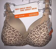 Two WARNERS 4003 Wire Free Light Natural Lift Bras Nude/Animal Print NWT $60 Rtl