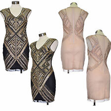 Embellished dress linear Sequin Bodycon Gatsby 1920's Size 6 8 10 12 14