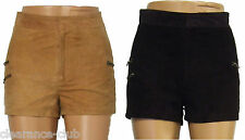 Suede leather shorts hot pants high waist zip pockets lined Size 4 6 8 10 12 14