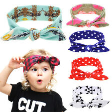 DIY Baby Kids Girl Bow Knot Headband Rabbit Ears Hair band Turban Knot Head Wrap