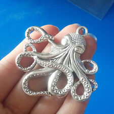 New 55x56MM Antique Silver Octopus Alloy Charms Pendant DIY Jewelry Fit Necklace