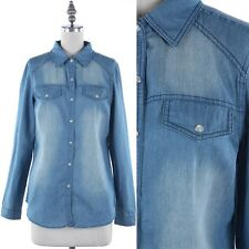 Long Sleeve Snap Button Closure Chambray Top with Faux Flap Pockets Casual S M L