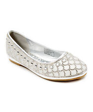 New Girls Flat Silver Shoes Rhinestone Scallop Ballet/Size 10 Toddler- 5 Youth