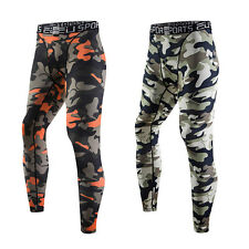 Camouflage Mens Sports Compression Thermal Base Layer Tights Fitness Long Pants