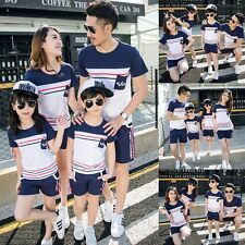 Fashion Men Women Boy Girl Family Outfits Striped T-shirt Tops+Pants Clothes Set