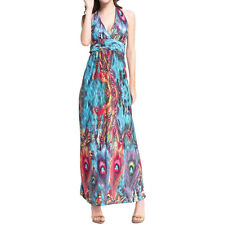 Lady Halter Neck Sleeveless Empire Waist Printed Maxi Dress