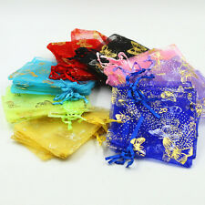 100X Golden Glitter Organza Butterfly Wedding Favours Gift Bags Jewellery Pouch