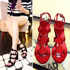 Women's Korean Series Lether Shoes Ankle Strap Peep Toe Sexy High Heel Sandals