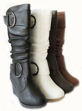 NEW WOMEN FASHION WEDGE MID CALF BOOTS KNEE HIGH ROUND TOE SLOUCH BUCKLE SHOES