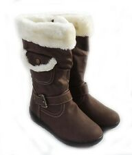 NEW WOMEN MID-CALF FUR LINED FLAT HEEL WINTER SNOW BOOTS COCO-03 / BROWN