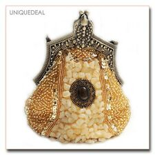 *New*  Vintage Pewter Beaded Victorian Style Evening Handbag Purse Clutch /Gold