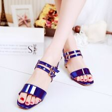 Womens Gothic Buckle Strap Slingbacks Patent Leather Heel Pump Sandals Shoes
