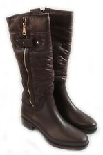 WOMENS KNEE-HIGH FASHIONABLE MATTE VINYL FUNKY BOOTS WITH SOFT CUSHION TOP/BROWN