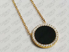 925 Sterling Silver Gold Rose Cubic Zirconia Black Onyx Disc Circle Necklace