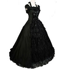 Victorian Gothic Sleeveless Southern Belle Lolita Cosplay Gown Ball Solemn Dress