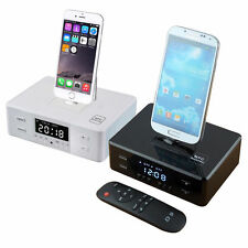 LCD Dual Alarm FM Radio Clock Dock Charge Station NFC Bluetooth Speaker Remote