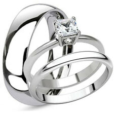 His Titanium Hers Princess Cut Stainless Steel Engagement Wedding Band Ring Set