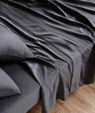 NEW Sheet Set Flat Sheet Fitted Sheet Pillowcase Set 100%Cotton Sateen COAL