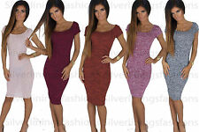 New Womens Short Sleeve Ladies Plain Ribbed Stretched Bodycon Midi Dress 8-14