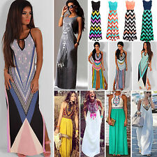 2017 Womens Summer Boho Sleeveless Long Maxi Dress Evening Party Beach Sundress