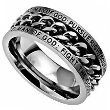 Christian Ring Man of God, Bible Verse: Fight the Good Fight, Steel Spinner Band
