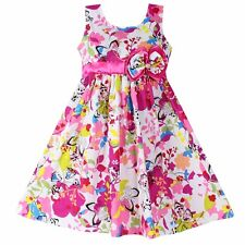 Girls Dress Butterfly Flower Print Bow Cotton Party Casual Kids Clothing SZ 4-12