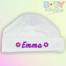 Personalised Embroidered White Baby Hat Flowers Girl Gift Choice Of Text Colours