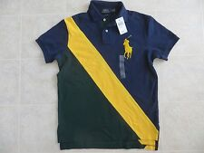 Polo Ralph Lauren Mens Custom Fit Blue Sash Banner Mesh Polo Shirt BIG PONY SNWT