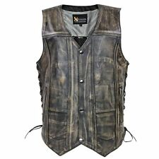 Xelement Mens Ten Pocket Distressed Brown Leather Motorcycle Vest W/ Gun Pockets