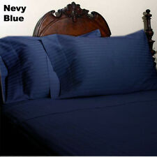 US Choice Bedding Items-Duvet/Fitted/Flat 1000TC Egyptian Cotton Navy Blue Strp